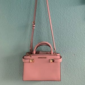 Michael Kors Leather Accordion Bag (Soft Pink)
